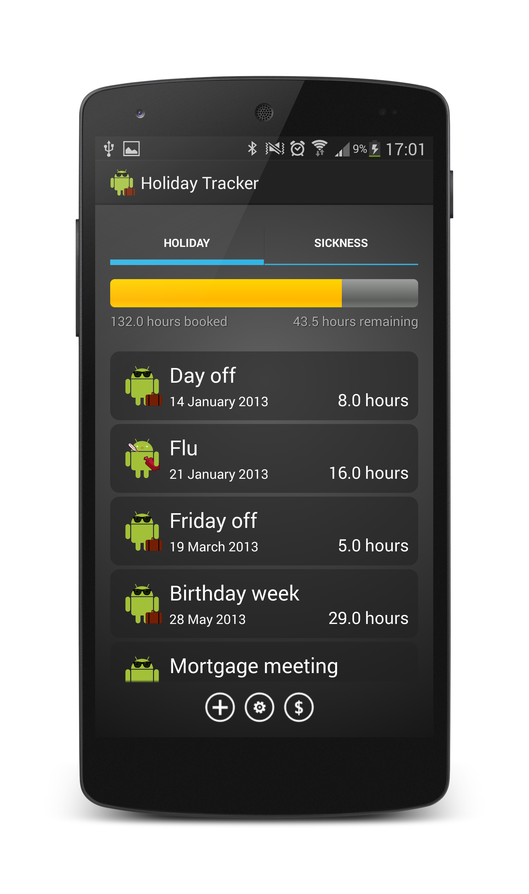 Holiday Tracker for Android